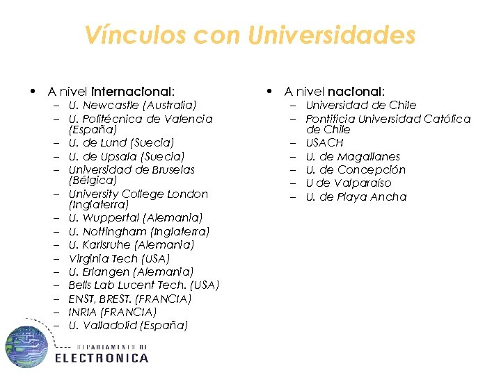 Vínculos con Universidades • A nivel internacional: – U. Newcastle (Australia) – U. Politécnica