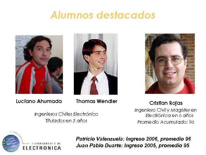 Alumnos destacados Luciano Ahumada Thomas Wendler Ingenieros Civiles Electrónico Titulados en 5 años Cristian