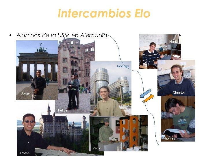 Intercambios Elo • Alumnos de la USM en Alemania Hans Rodrigo Christof Jorge Felipe