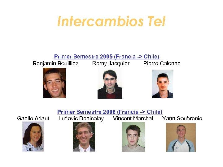 Intercambios Tel Primer Semestre 2005 (Francia -> Chile) Benjamin Bouilliez Remy Jacquier Pierre Calonne