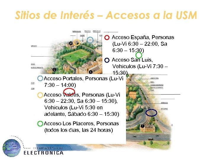 Sitios de Interés – Accesos a la USM Acceso España, Personas (Lu-Vi 6: 30