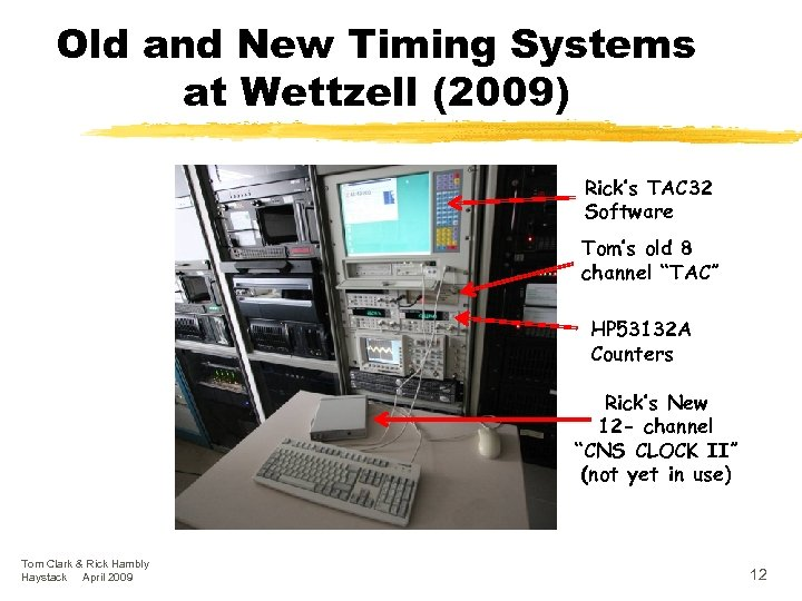 Old and New Timing Systems at Wettzell (2009) Rick's TAC 32 Software Tom's old