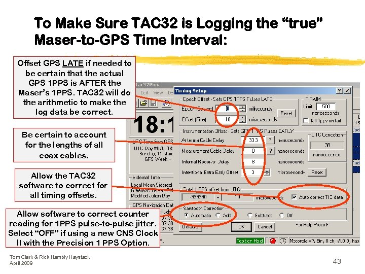 """To Make Sure TAC 32 is Logging the """"true"""" Maser-to-GPS Time Interval: Offset GPS"""