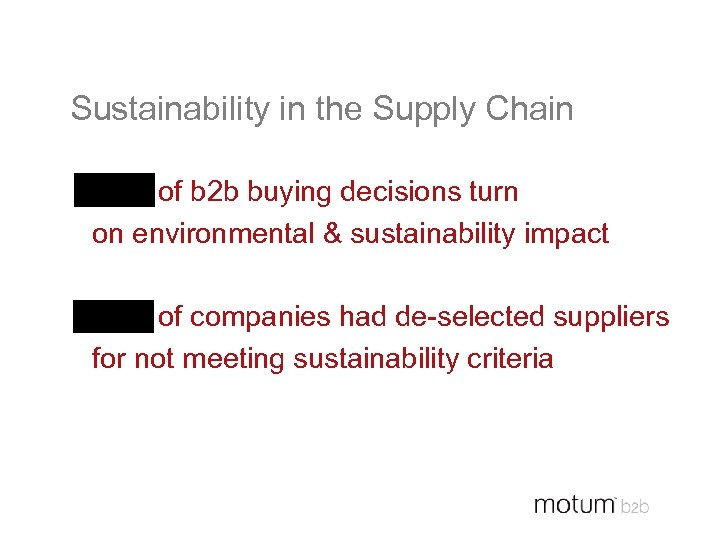 Sustainability in the Supply Chain 48% of b 2 b buying decisions turn on