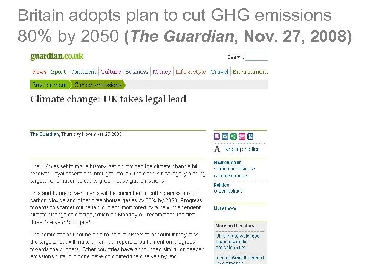 Britain adopts plan to cut GHG emissions 80% by 2050 (The Guardian, Nov. 27,