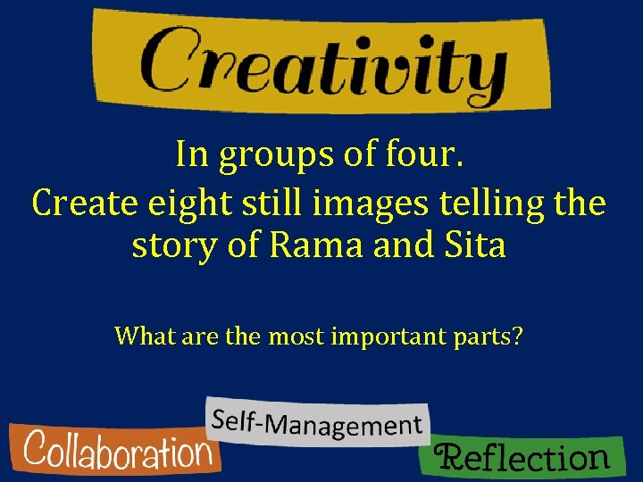 In groups of four. Create eight still images telling the story of Rama and