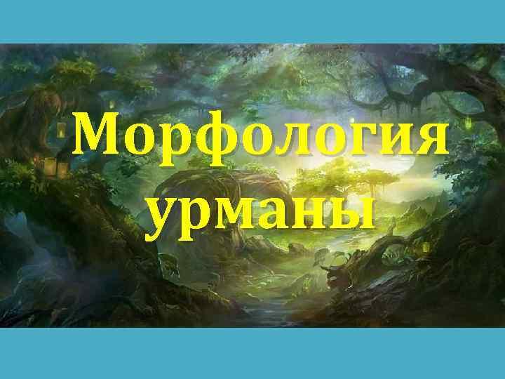 Морфология урманы