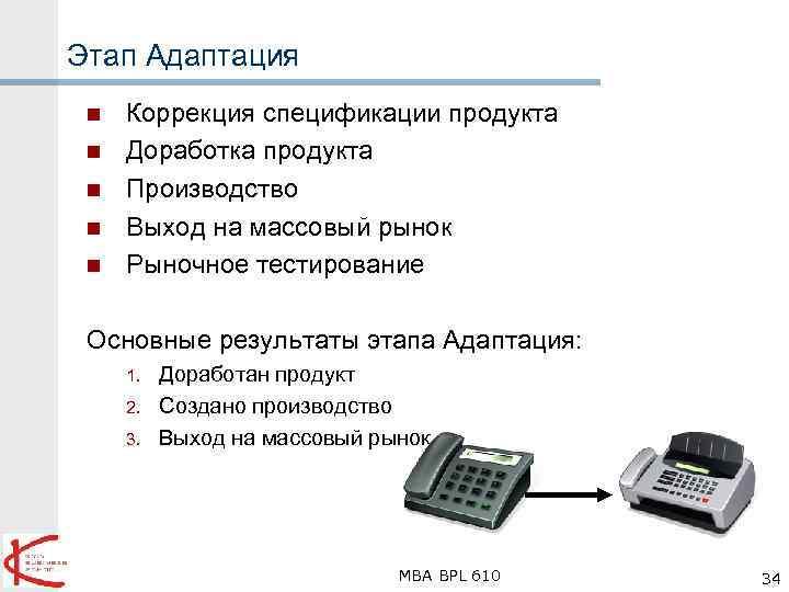 Этап Адаптация n n n Коррекция спецификации продукта Доработка продукта Производство Выход на массовый