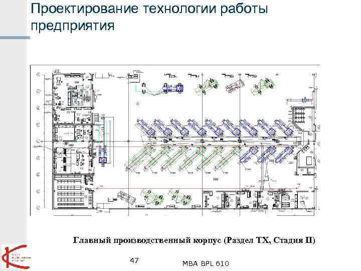 Проектирование технологии работы предприятия Главный производственный корпус (Раздел ТХ, Стадия П) 47 MBA BPL