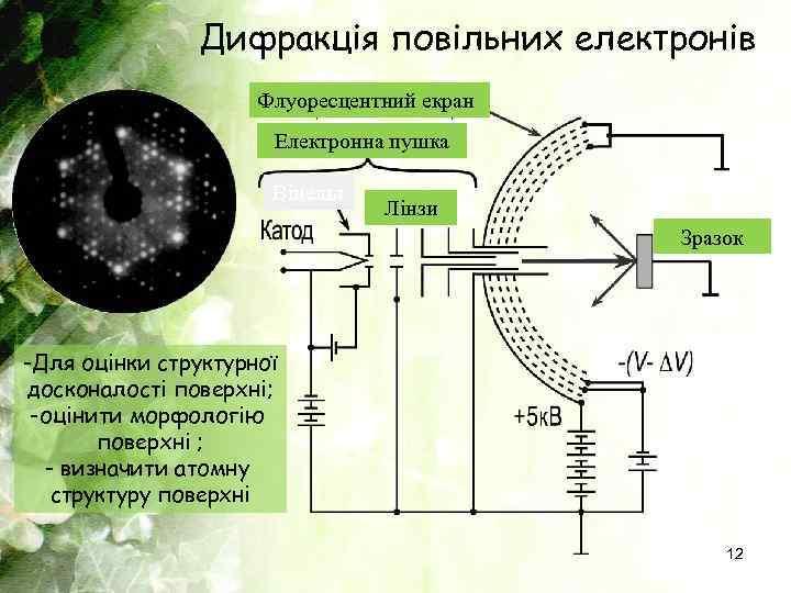 Дифракція повільних електронів Флуоресцентний екран Електронна пушка Вінельт Лінзи Зразок -Для оцінки структурної досконалості