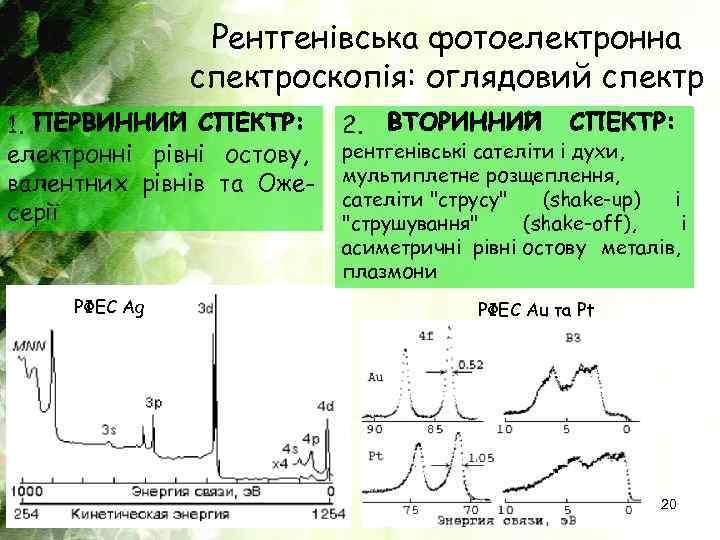 Рентгенівська фотоелектронна спектроскопія: оглядовий спектр 1. електронні рівні остову, валентних рівнів та Ожесерії РФЕС