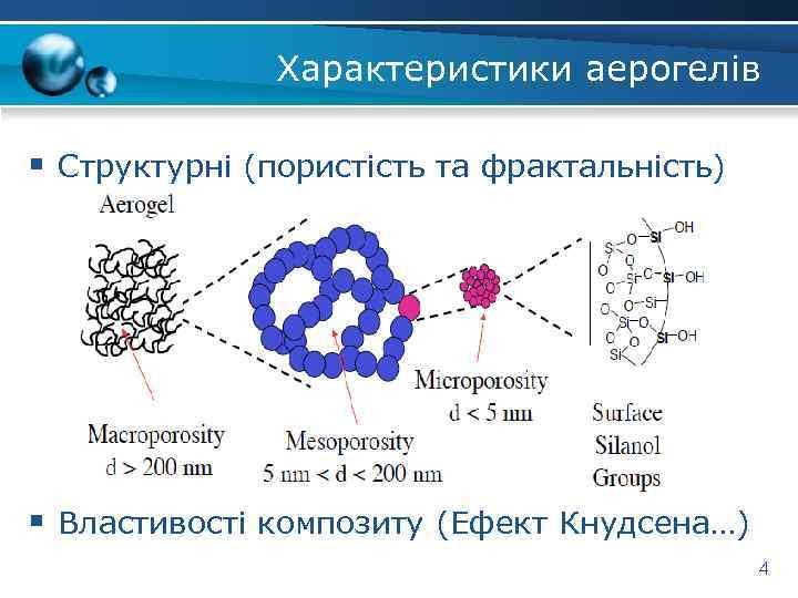 Характеристики аерогелів § Структурні (пористість та фрактальність) § Властивості композиту (Ефект Кнудсена…) 4