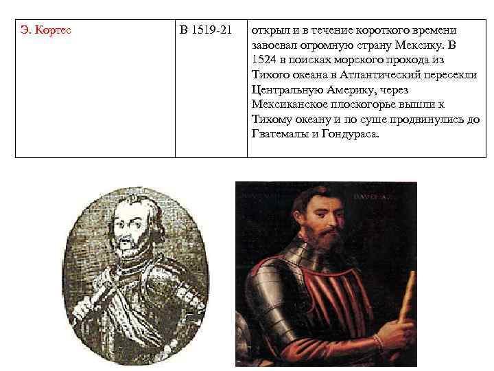 Э. Кортес В 1519 -21 открыл и в течение короткого времени завоевал огромную страну