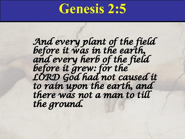 Genesis 2: 5 And every plant of the field before it was in the