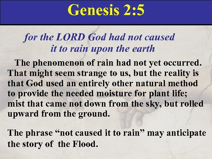 Genesis 2: 5 for the LORD God had not caused it to rain upon