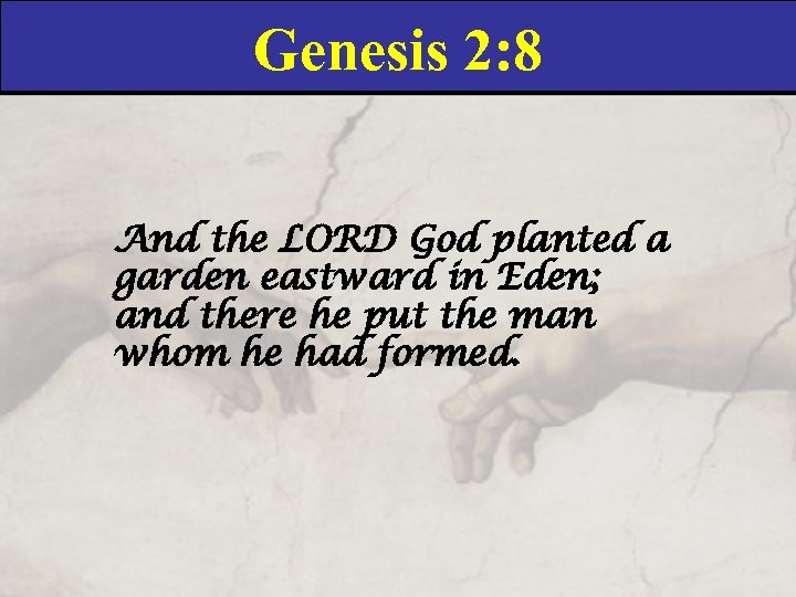 Genesis 2: 8 And the LORD God planted a garden eastward in Eden; and
