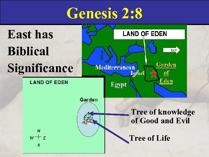 Genesis 2: 8 East has Biblical Significance Tree of knowledge of Good and Evil