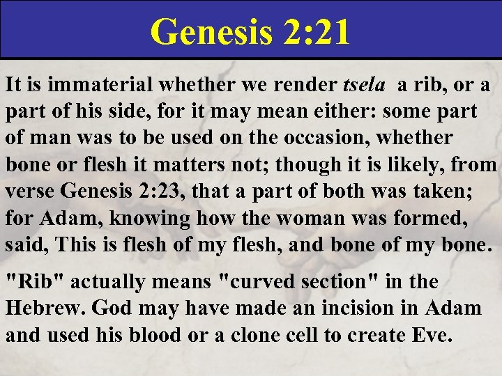 Genesis 2: 21 It is immaterial whether we render tsela a rib, or a