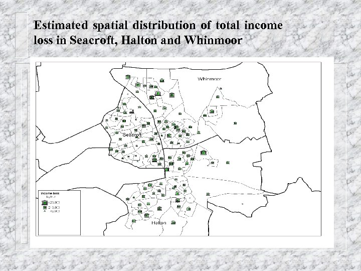 Estimated spatial distribution of total income loss in Seacroft, Halton and Whinmoor
