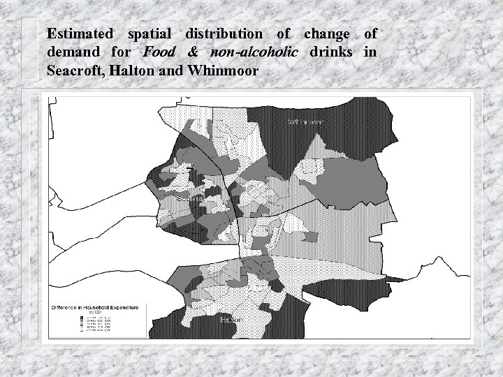 Estimated spatial distribution of change of demand for Food & non-alcoholic drinks in Seacroft,
