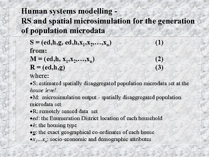 Human systems modelling RS and spatial microsimulation for the generation of population microdata S