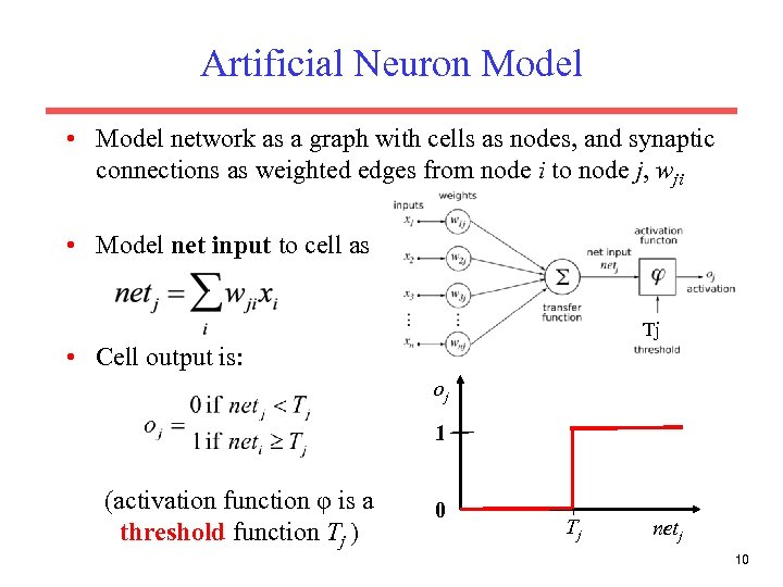 Artificial Neuron Model • Model network as a graph with cells as nodes, and