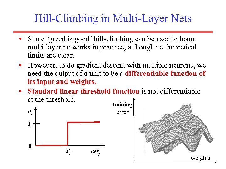 "Hill-Climbing in Multi-Layer Nets • Since ""greed is good"" hill-climbing can be used to"
