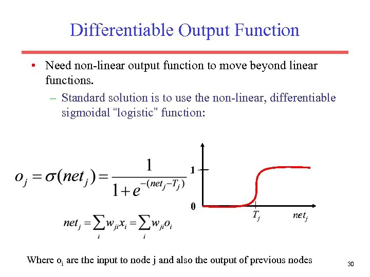 Differentiable Output Function • Need non-linear output function to move beyond linear functions. –
