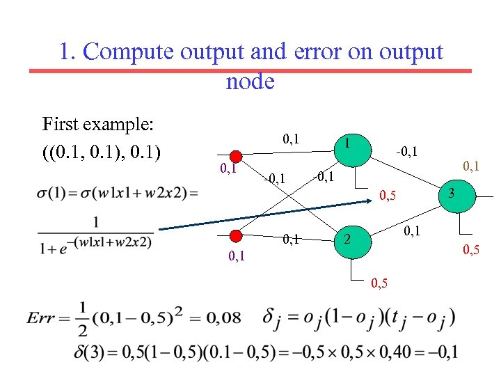 1. Compute output and error on output node First example: ((0. 1, 0. 1)