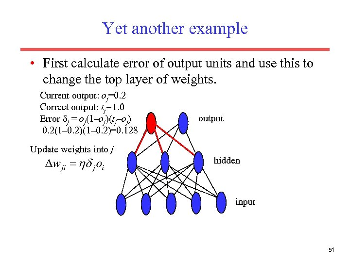 Yet another example • First calculate error of output units and use this to
