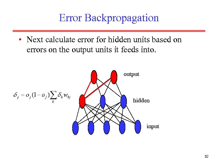 Error Backpropagation • Next calculate error for hidden units based on errors on the