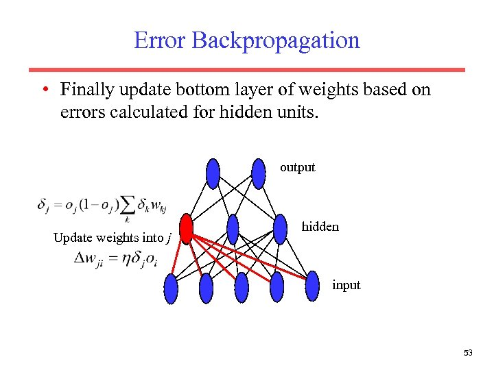 Error Backpropagation • Finally update bottom layer of weights based on errors calculated for