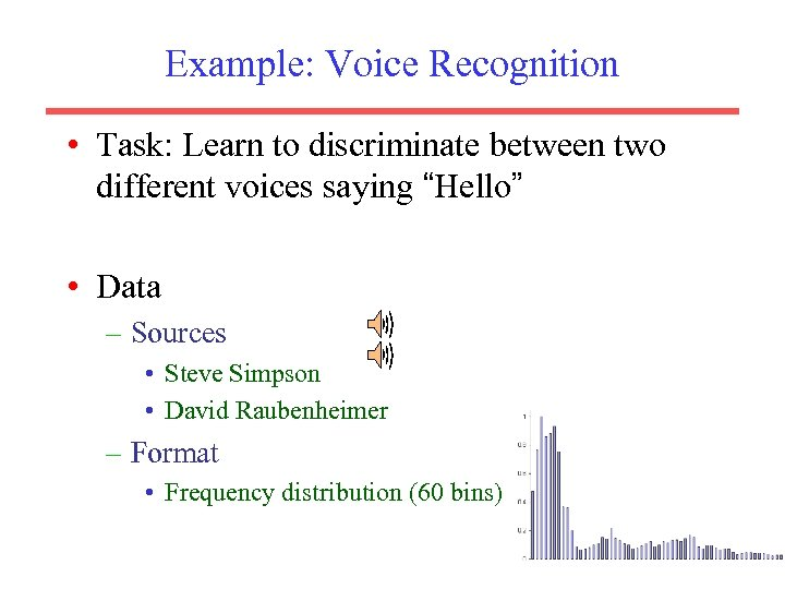 "Example: Voice Recognition • Task: Learn to discriminate between two different voices saying ""Hello"""