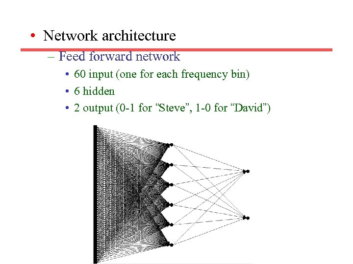 • Network architecture – Feed forward network • 60 input (one for each
