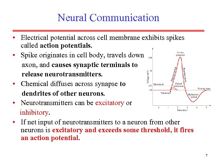 Neural Communication • Electrical potential across cell membrane exhibits spikes called action potentials. •
