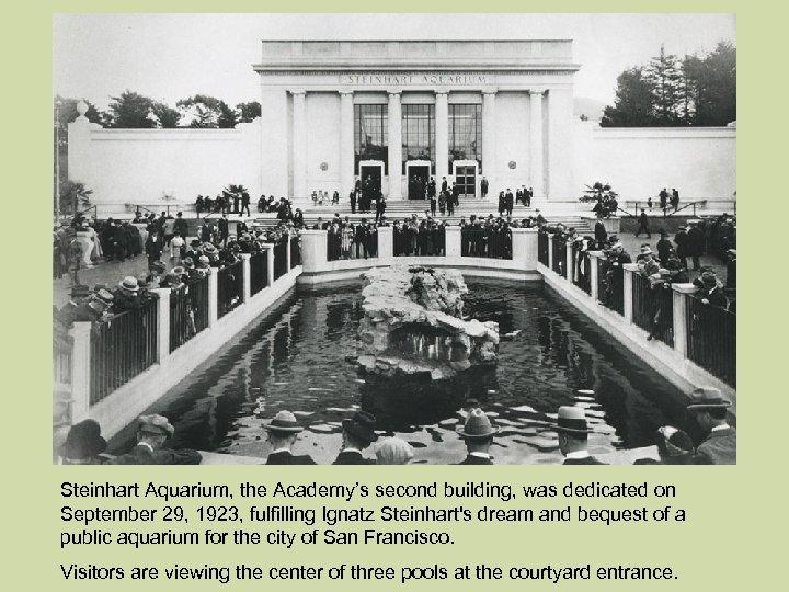 Steinhart Aquarium, the Academy's second building, was dedicated on September 29, 1923, fulfilling Ignatz