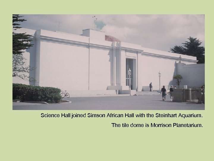 Science Hall joined Simson African Hall with the Steinhart Aquarium. The tile dome is