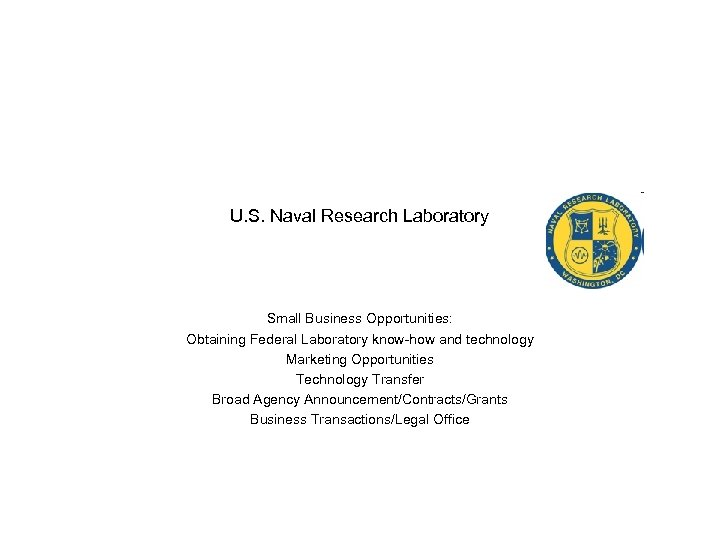 U. S. Naval Research Laboratory Small Business Opportunities: Obtaining Federal Laboratory know-how and technology