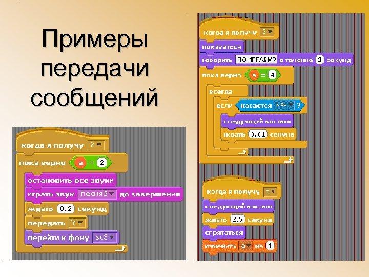 Примеры передачи сообщений