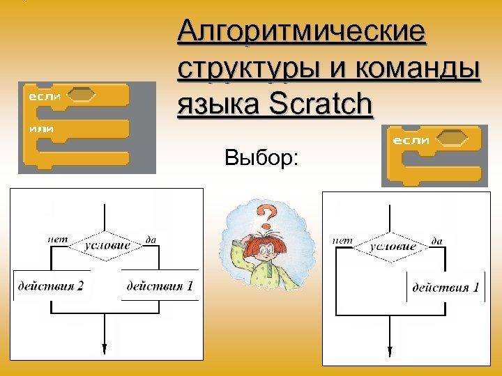 Алгоритмические структуры и команды языка Scratch Выбор: