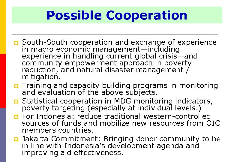 Possible Cooperation p p p South-South cooperation and exchange of experience in macro economic