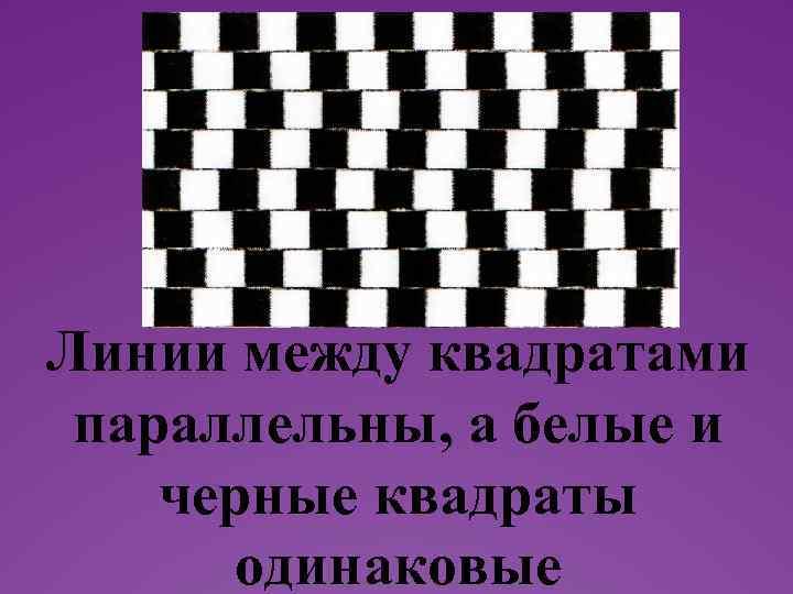 Текст надписи Линии между квадратами параллельны, а белые и черные квадраты одинаковые