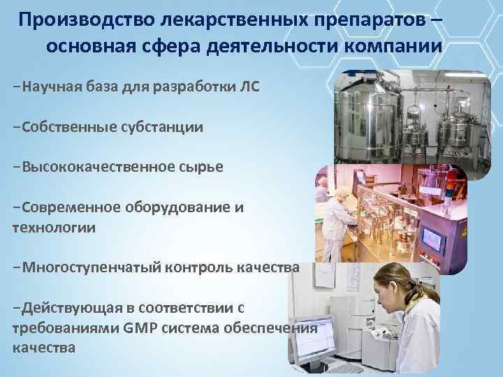 Производство лекарственных препаратов – основная сфера деятельности компании −Научная база для разработки ЛС −Собственные
