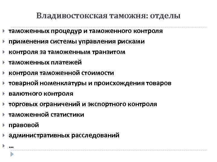 Владивостокская таможня: отделы таможенных процедур и таможенного контроля применения системы управления рисками контроля за