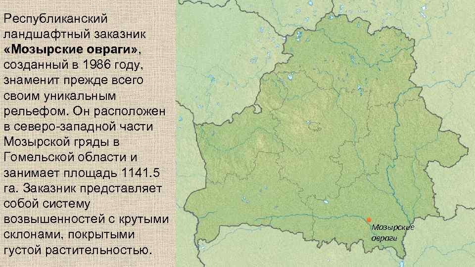Республиканский ландшафтный заказник «Мозырские овраги» , созданный в 1986 году, знаменит прежде всего своим