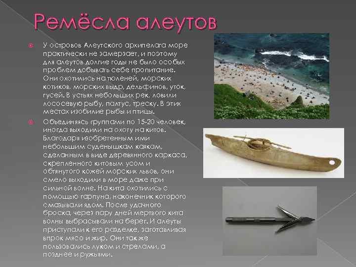 Ремёсла алеутов У островов Алеутского архипелага море практически не замерзает, и поэтому для алеутов
