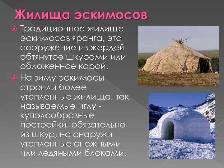 Жилища эскимосов Традиционное жилище эскимосов яранга, это сооружение из жердей обтянутое шкурами или обложенное