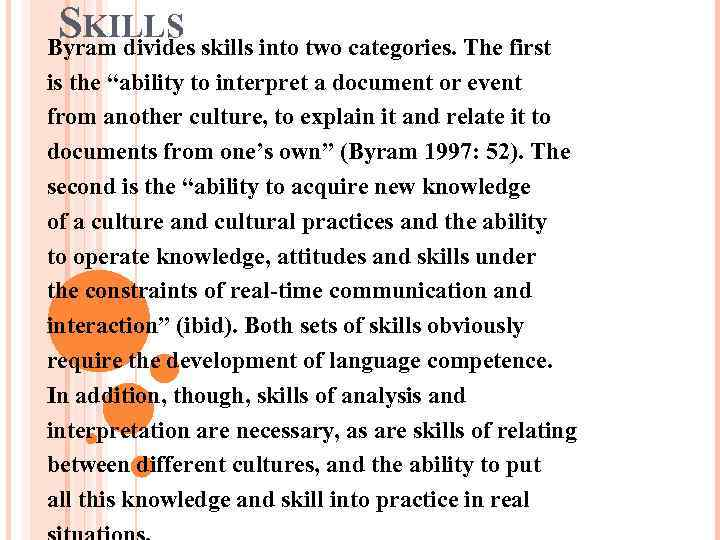 "SKILLS skills into two categories. The first Byram divides is the ""ability to interpret"