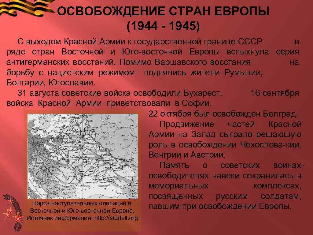 ОСВОБОЖДЕНИЕ СТРАН ЕВРОПЫ (1944 - 1945) С выходом Красной Армии к государственной границе СССР