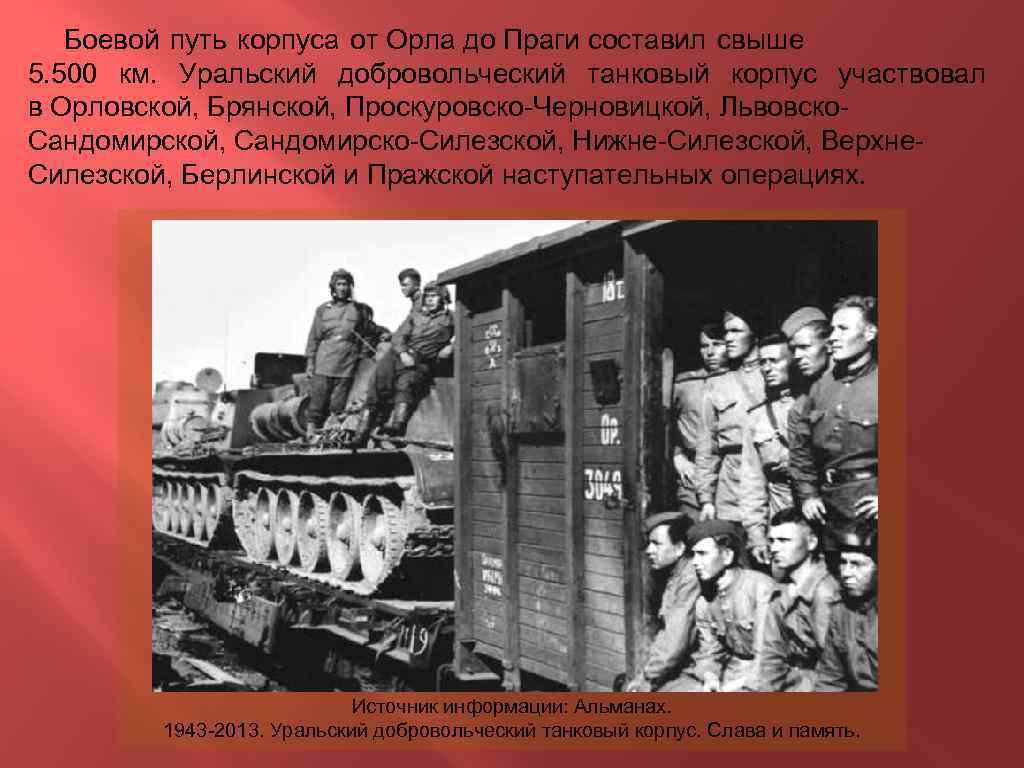 Боевой путь корпуса от Орла до Праги составил свыше 5. 500 км. Уральский добровольческий